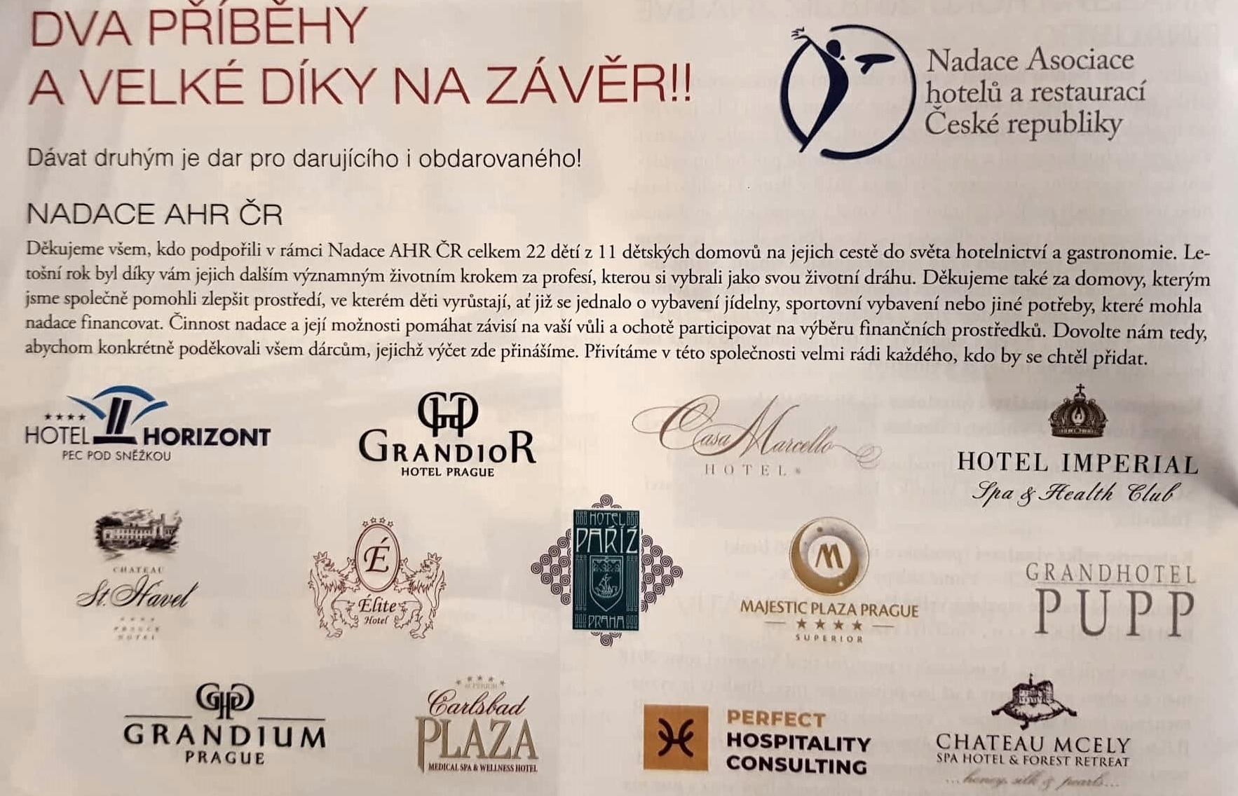 Poděkování Nadace AHR ČR